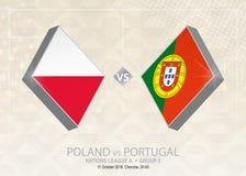 La Pologne contre le Portugal, ligue A, groupe 3 Competiti du football de l'Europe illustration stock