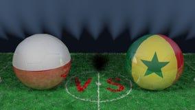 La Pologne contre le Sénégal Coupe du monde 2018 de la FIFA Image 3D originale Images libres de droits