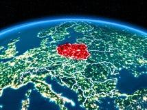 La Pologne de l'espace la nuit Image libre de droits