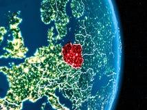 La Pologne en rouge la nuit Photo stock