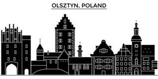La Pologne, l'horizon de ville de vecteur d'architecture d'Olsztyn, paysage urbain de voyage avec des points de repère, bâtiments illustration libre de droits