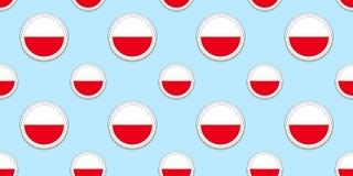 La Pologne, modèle sans couture de drapeau rond Polonais, fond Icônes de cercle de vecteur Symboles géométriques Donnez une consi illustration libre de droits