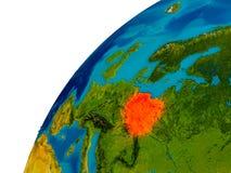 La Pologne sur le globe Image stock