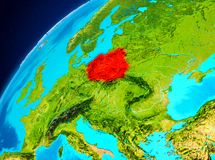 La Pologne sur terre de l'espace Photographie stock libre de droits