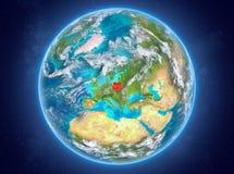 La Pologne sur terre de planète dans l'espace Photo stock