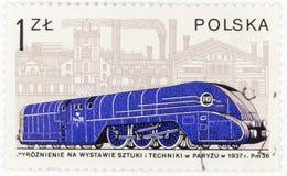 La POLONIA - CIRCA il francobollo 1978 di A stampato in Polonia mostra dal 1937 la vecchia locomotiva polacca il Pm 36, circa 197 Immagine Stock Libera da Diritti