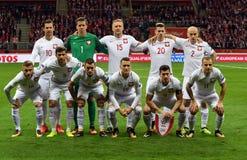 La Polonia - il Montenegro Russia 2018 qualificazioni Immagine Stock