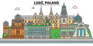 La Polonia, Lodz Orizzonte della città, architettura, costruzioni, vie, siluetta, paesaggio, panorama, punti di riferimento edita illustrazione vettoriale