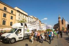 La Polonia - partecipanti di marzo per la liberazione della cannabis Fotografia Stock Libera da Diritti