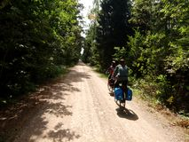 La Polonia sulle biciclette Immagini Stock Libere da Diritti