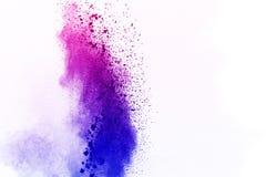 La polvere bianca astratta splatted il fondo, moto della gelata di colore Immagini Stock
