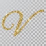La polvere di scintillio dell'oro segna la u con lettere, la v, stile dipinto di n a disposizione Immagini Stock Libere da Diritti