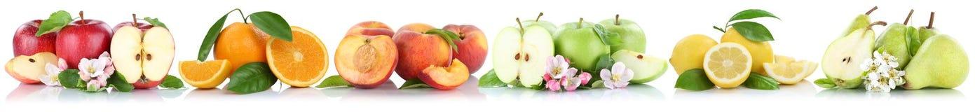 La pomme de fruits les oranges qu'oranges de pommes de pêche de citron portent des fruits dans une rangée est Images stock