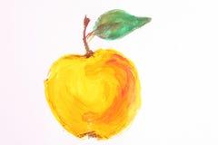 La pomme jaune peinte a isolé Image libre de droits
