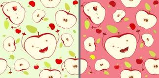 La pomme joyeuse en baisse drôle d'expression divise en deux le modèle sans couture Concept de récolte, vie joyeuse, acceptation  Image stock