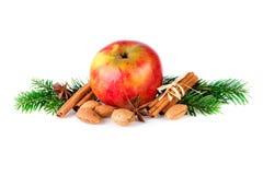 La pomme rouge décorée des épices de Noël et le sapin s'embranchent Style de décoration de ferme de pomme de Noël Photo libre de droits