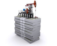 La pompa-presa dell'olio si leva in piedi sui pacchetti dei dollari Fotografia Stock