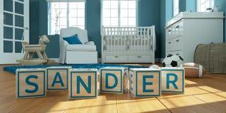 La ponceuse de nom écrite avec les cubes en bois en jouet chez la pièce du ` s des enfants Image libre de droits