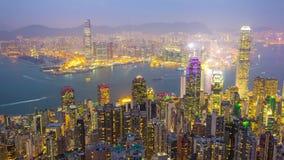 La porcellana di punta di lasso di tempo di panorama 4k di Hong Kong di tramonto del punto di vista archivi video