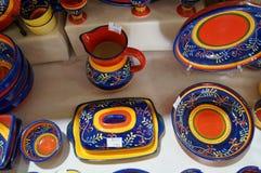 La porcellana portoghese obietta a colori - vista della cima Fotografia Stock
