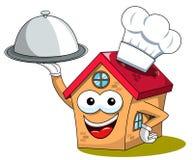 La porción divertida de la bandeja del cocinero del cocinero del carácter de la historieta feliz de la casa aisló stock de ilustración
