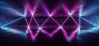 La porpora blu d'ardore al neon sotterranea del laser di Cyberpunk futuro accende lo studio Asphalt Reflective Tiled Floor Hall d royalty illustrazione gratis