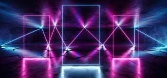 La porpora blu d'ardore al neon sotterranea del laser di Cyberpunk futuro accende lo studio Asphalt Reflective Tiled Floor Hall d illustrazione di stock