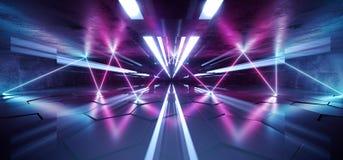 La porpora blu d'ardore al neon sotterranea del laser di Cyberpunk futuro accende lo studio Asphalt Reflective Tiled Floor Hall d illustrazione vettoriale