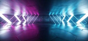 La porpora blu d'ardore al neon sotterranea del laser di lerciume concreto futuro accende il pavimento non tappezzato riflettente royalty illustrazione gratis