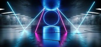 La porpora blu d'ardore al neon sotterranea del laser di lerciume concreto futuro accende il pavimento non tappezzato riflettente illustrazione vettoriale