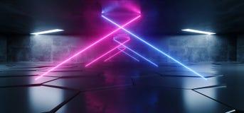 La porpora blu d'ardore del laser del triangolo al neon sotterraneo futuro accende il pavimento non tappezzato riflettente Corrid royalty illustrazione gratis