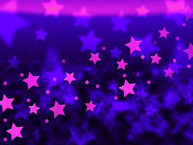 La porpora Stars le manifestazioni Celestial Light And Starry del fondo Illustrazione di Stock