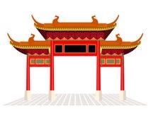 La porta della città della Cina e l'isolato del pavimento sul vettore bianco del fondo progettano illustrazione di stock
