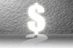 La porta di successo dell'obiettivo è soldi del dollaro con il cemento della parete Fotografia Stock
