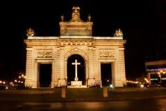 La porta marcha, noche de Valencia, España del de Imagen de archivo libre de regalías