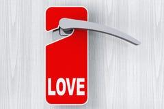 La porte avec ne touchent pas au signe d'étiquette et d'amour Photos stock