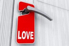 La porte avec ne touchent pas au signe d'étiquette et d'amour Photographie stock