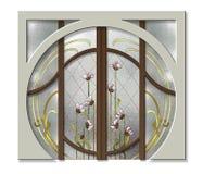 La porte dans le vitrail Photo libre de droits
