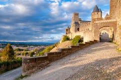 La Porte De Aude entrance at Carcassonne Stock Images