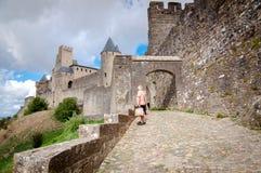 La Porte De Aude with tourist at Carcassonne Royalty Free Stock Photo
