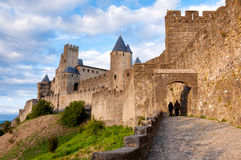 La Porte De Aude with tourist at late afternoon in Carcassonne Royalty Free Stock Photos