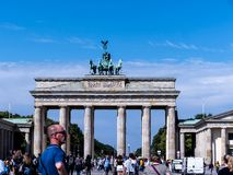 La Porte de Brandebourg est le ` s de Berlin la plupart de point de repère célèbre Un symbole de Berlin et de division allemande  Image libre de droits