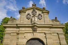 La porte de Leopold - entrée impressionnante dans le complexe intérieur d'ehrad de ¡ de VyÅ à Prague, République Tchèque image stock