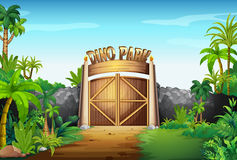 La porte du parc de Dino Images stock