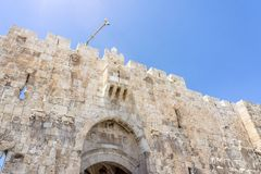 La porte du ` s de lion dans la vieille ville de Jérusalem, Israël Images stock