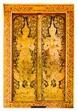 La porte du temple public a peint le beau style thaïlandais sur le fond blanc Images stock