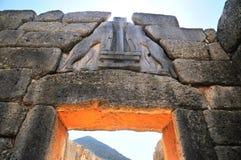 La porte Mycenae de lion. Images libres de droits