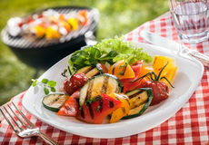 La portion du succulent a rôti le végétarien, légumes frais Image libre de droits