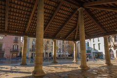La Porxada of the city of Granollers. La Porxada is an antique 16th century corn exchange porch building which is the most famous landmark and touristic Stock Photo