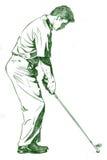 La posa dell'oscillazione di golf Immagini Stock